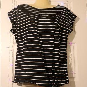 RALPH LAUREN Black & White Striped Blouse. Med